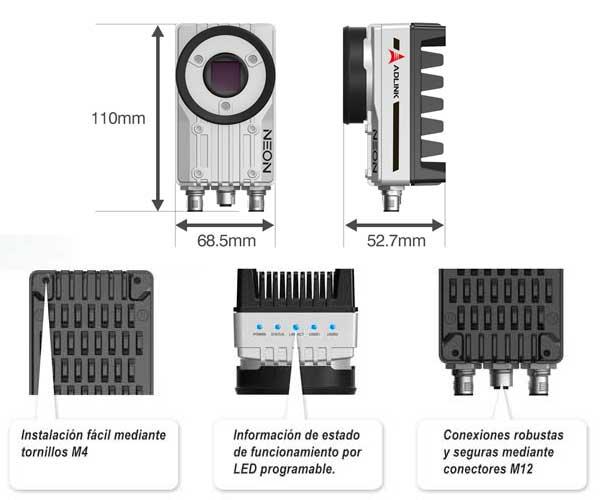 cámara inteligente QNV-Adlink-Neon-1040 dimensiones